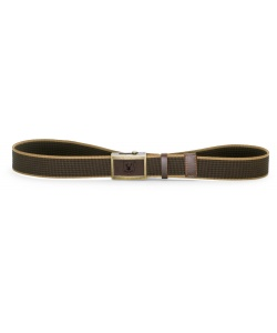 Cotton and leather trousers belt